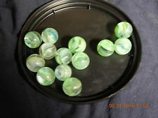 Vintage Glass Marbles Lot of  15 Cat's Eye GREEN13/16