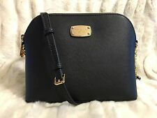 NWT MICHAEL KORS SAFFIANO LEATHER CINDY LARGE DOME CROSSBODY BAG IN BLACK/GOLD