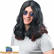 70's BLACK OZZY OSBOURNE ROCK STAR CELEBRITY WIG Mens Fancy Dress Costume