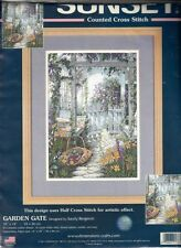 """Dimensions: Garden Gate ~ Counted Cross Stitch Kit ~ 10"""" x 14"""" (needle missing)"""