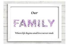 Personalised Family Word Art Gift 101 Mothers Fathers Days Present Birthday xmas