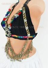 Midnight Blue Halter Top Belly Dance 34-36D ATS, Tribal, Cos Play, Fusion