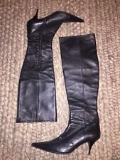 Loriblu Vero Cuoio Tall Black Knee High Pointed Toe Leather Heel Boots 39