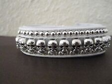 White and Silver Handmade Men's leather wrap Biker bracelet w/ Silver Skulls.