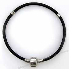 5x Black Leather Bracelet Fit Charms Loose Beads 150649