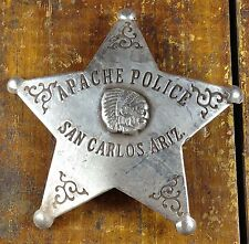 Apache Police San Carlos AZ Ariz 5 Point Star Shaped Silver Plate Pinback Badge