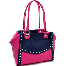 Dasein Petite Pyramid Studded Two Tone Shoulder Bag - Navy Blue/Pink