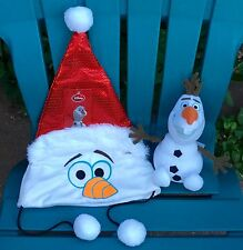 NWT NEW DISNEY FROZEN OLAF SNOWMAN CHRISTMAS HOLIDAY SANTA COSTUME HAT & PLUSH