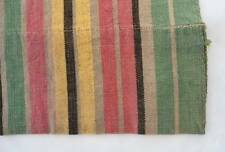 Vintage French Country Cotton Fabric Pink Green Yellow Red Ticking