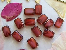 12 Czech Glass Table Cut Rectangle Beads ~ Pearl Fuchsia Pink Picasso 8x12mm