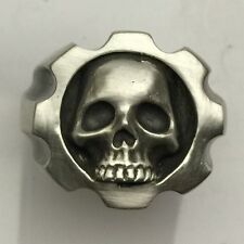 MJG STERLING SILVER .357 MAGNUM 8 SHOT SKULL RING . SZ 10. BIKER. GUITAR PLAYER
