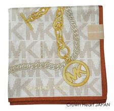 MICHAEL KORS Licensed Cotton NeckScarf Chain Charm Monogram MK print White JAPAN