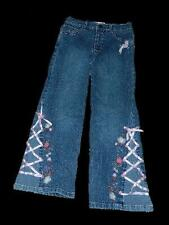 Girls Flapdoodles Floral Jeans Embroidered Laced Up sz 6X Flap Back Pockets