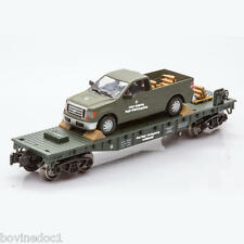 NEW - O GAUGE TRAIN FLATCAR WITH MILITARY ARMY TRUCK AND SHELLS RAILROAD TRACK
