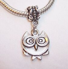Owl Bird Animal Dangle Bead for Silver European Style Jewelry Charm Bracelets