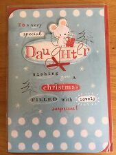 Daughter Mouse Blue Dot Christmas New Year Greeting LARGE Card NEW (C207)