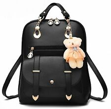 YAAGLE Korean PU Shoulder Large Capacity Bag With Bear Decoration for Women and