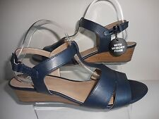 Navy Blue Strappy Wedge Sandals Size UK 10 Wide (EEE Fit) BNWT From Evans