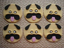 pug dog cup cake toppers x 6