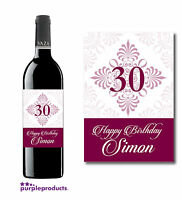PERSONALISED BIRTHDAY WINE or CHAMPAGNE LABEL B2 18th, 21st, 30th, 40th, 50th.