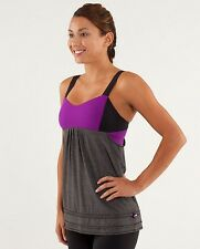 LULULEMON RUN BACK ON TRACK TANK SIZE 6 BLACK AND TENDER VIOLET SIZE 4 WITH CUPS