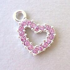 3 pcs Rhinestone Pink Pendants Dangle Charms HEART Silver plated Wholesale c87
