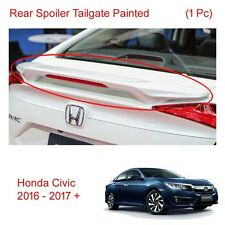 Rear Spoiler Tailgate White Painted Trim 1Pc Honda Civic Fc 4 Door 2016 - 2017 +