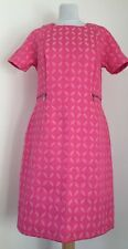 M&S COLLECTION PINK RETRO VINTAGE STYLE JAQUARED DRESS WITH ZIPS, SIZE 12/EU40