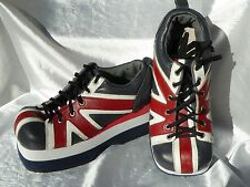 Demonia Leather British Flag Punk Shoes - God Save the Queen Platform Stompers 9