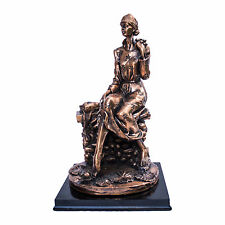 woman bronze figurine,lotus pond pondering lovely home decor, woman statue