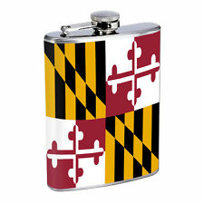 Maryland Flask D1 8oz Hip Stainless Steel State Flag Drinking Whiskey Liquor