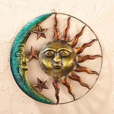 Rustic Sun Face Rays Moon Stars Metal Wall Art Hanging Patio Fence Home Decor