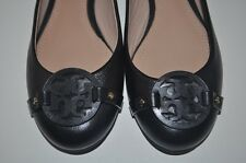NIB $235+ Tory Burch Mini Miller Logo Ballet Flat Shoe Black Leather Sz 8 M
