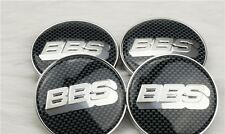 4 x BBS Carbon Fibre Silver BBS 60mm Alloy Wheels Sticker Center Cap Only