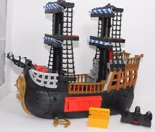 2006 Mattel Fisher Price Imaginext Black Pirate Ship w/ Blue Sails