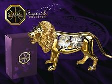 G 4109 Gold Löwe Lion Swarovski Steine Kristall 24 Karat Crystal 9 cm Neu