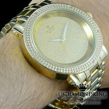 MENS NEW .06CT GENUINE REAL DIAMOND GOLD PLATED METAL BIG FACE BAND WRIST WATCH