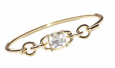 SPARKLY BLING GOLD BANGLE WITH CRYSTAL CLEAR SQUARE CUT DIAMANTE FEATURE (NS1)