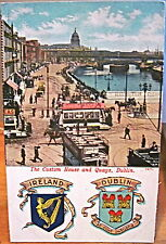 Irish Postcard DUBLIN Customs House & Quays River Liffey Crest Ireland Lawrence