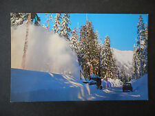 Vintage Postcard Snow removal Stevens Pass Washington
