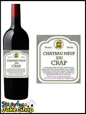 Funny Novelty Wine Chateau Neuf Du Crap Bottle Labels And Gift Bag Joke Humour
