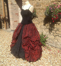 WHITBY GOTH STEAMPUNK VICTORIAN LONG RED POLY SILK SKIRT FREESIZE (7530)