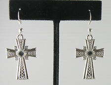 Cross / Crucifix / Rood Dangling Earring With a Synthetic Crystal in the Center