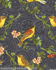 Avignon by Michelle D'Amore Aviary black cotton quilting fabric