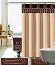 18 Piece Charlton Embroidery Banded Shower Curtain Bath Set (Brown & Beige)