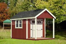 12' x 8' Cabin Loft Utility Shed with Porch Plans / Blueprints - Design #P61208