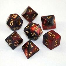 Set 7 dadi CHESSEX Gemini Purple-Red gold 26426 Rosso Porpora oro Dado Dice CHX