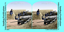 Soldier Cannon Artillery Sandbags VA Civil War SV Stereoview Stereocard 3D 01693