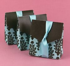 Turquoise Brown Flourish Favor Boxes Weddings Baby Showers Anniversary