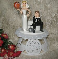 Wedding Party Reception ~Football~ Ball & Chain Sport Touch Down Cake Topper